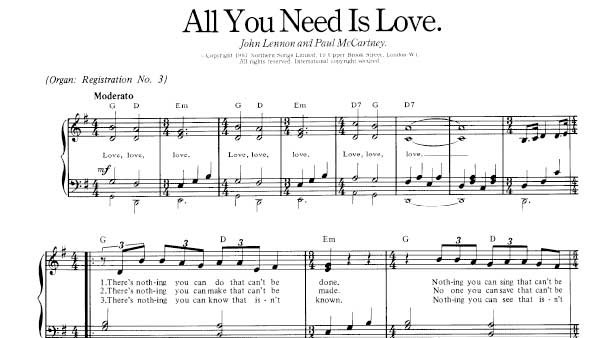 All You Need Is Love Sheet Music Beatles Piano Sheet Music